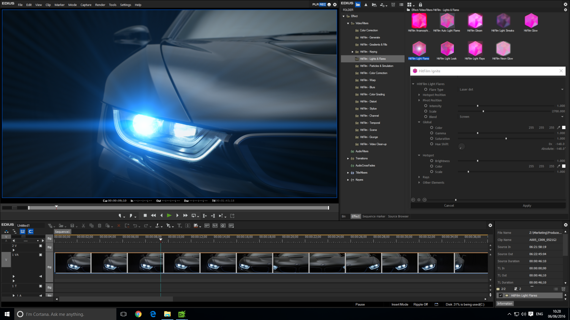 Hitfilm Ignite in EDIUS 8 - Screenshot 1